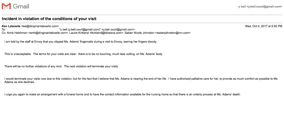 Labowitz Email Threat to Term Visits